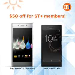 [M1] Exclusively for ST+ members, enjoy $50 off Sony Xperia™ XZ Premium or XZs when you sign up or re-contract