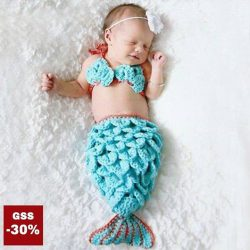 [LOVFLAUNT] A beautiful, handmade mermaid Crochet Knit Outfit for your newborn.