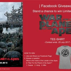 [Filmgarde Cineplex] Stand a chance to win WAR FOR THE PLANET OF THE APES movie premiums!