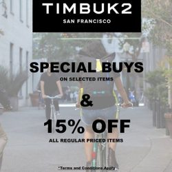 [Timbuk2 Singapore] The GSS Special Buys and 15% off Promotion for Timbuk2 will end on the 16th of July.