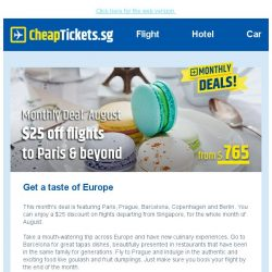 [cheaptickets.sg] Get a taste of Europe with our monthly deal - $25 off flights to Paris & beyond!