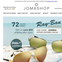 [Jomashop] 72 HOURS: Extra $50 off Ray-Ban | $100 off Frederique Constant | Exquisite Diamond Jewelry Sale