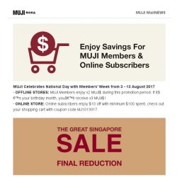 [Muji] MUJI Members' Week is here!