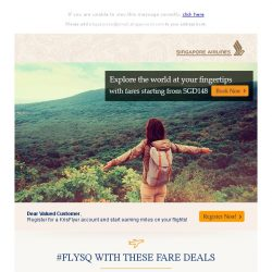 [Singapore Airlines] Fare deals from $148 and other exclusive fares and promo codes are up for grab
