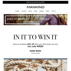 [Mankind] In It To Win In | Shop now & save 20%