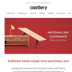 [Castlery] Took leave for long weekend - Pop by for major clearance deals!
