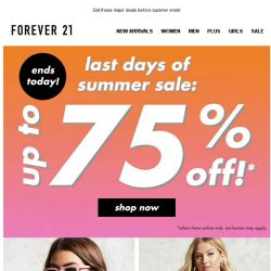 [FOREVER 21] ENDS TONIGHT! UP TO 75% OFF!