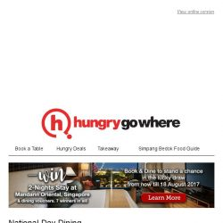 [HungryGoWhere] National Day Specials: 2nd Dines @ $0.52++, 1-for-1 Mains, 30% Off Total Bill & more!