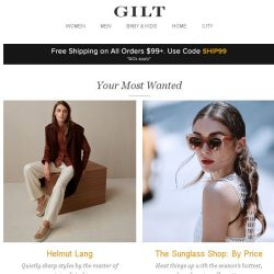 [Gilt] Helmut Lang, The Sunglass Shop: By Price, All Black Everything: Apparel and More Start Today at 8am ET