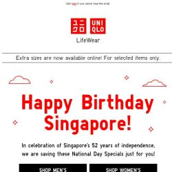 [UNIQLO Singapore] National day offers from $9.90!