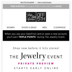[Saks OFF 5th] Be the 1st: get up to 60% OFF jewelry + 10% off with More!
