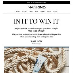 [Mankind] Last Chance  |  20% off plus FREE gift