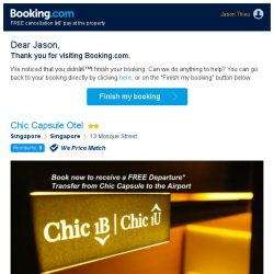 [Booking.com] Chic Capsule Otel – are you still interested in staying, Jason?