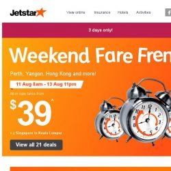 [Jetstar] 🕗 Frenzy fares to Perth, Yangon, Hong Kong and more! Book now.