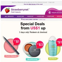 [StrawberryNet] Snap Up US$1 Special Beauty Deals Before They're Gone!