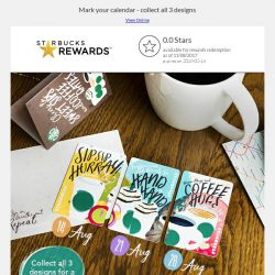 [Starbucks] Limited Edition EZ-Link Cards – be sure to collect all 3 designs from 14 Aug