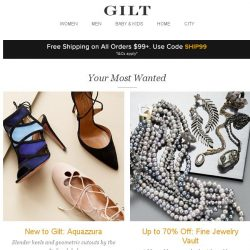 [Gilt] New to Gilt: Aquazzura, Fine Jewelry Vault: Up to 70% Off, Saloni and More Start Today at Noon ET