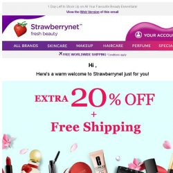 [StrawberryNet] , Your Extra 20% Off + Free Shipping is Almost History!