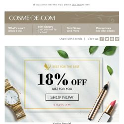 [COSME-DE.com] HURRY UP! 18% off on your order!