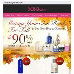 [SaSa ] Getting Your Skin Ready For Fall, Up to 90% OFF!