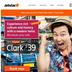 [Jetstar] ✈ New Route Launch to Clark! Irresistible sale fares from $39 only.