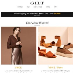[Gilt] VINCE., VINCE. Shoes, 250 Transitional Pieces and More Start Today at 8am ET
