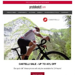 [probikekit] Castelli SALE - Up to 45% off!
