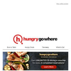 [HungryGoWhere] Awesome Lunch Deals: 1-for-1 Steak, 50% Off Total Bill, Set Meal from $9.90++