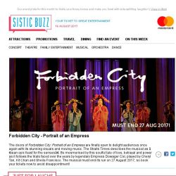 "[SISTIC] Forbidden City The Musical - ""An epic feast for the senses"" as reviewed by The Straits Times!"