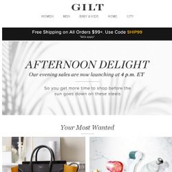 [Gilt] Afternoon Delight: Sales now launching at 4 p.m. ET: The Designer Handbag Shop, Skin Care Tools & Treatments, Clothes for Girls & Boys: Up to 90% Off and More Start Today at 4pm ET