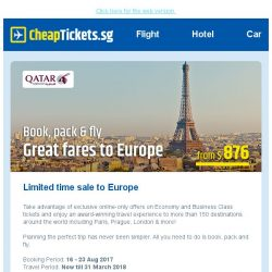 [cheaptickets.sg] 3 airline fares on sale | To Bangkok, Seoul & Top 10 European Cities | Fares from $325