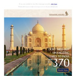 [Singapore Airlines] Last chance to book exciting fares to India from SGD370!