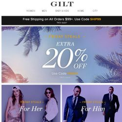 [Gilt] Extra 20% Off (Let the weekend begin)