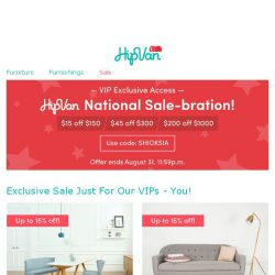 [HipVan] Exclusive storewide sale just for you!😍