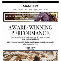 [Mankind] Award Winning Performance | Save 20% now plus FREE gift inside