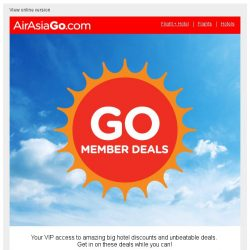[AirAsiaGo] 🎁 Congratulations! You qualify for 1/2 price hotel sale. [Coupon inside] 🎁