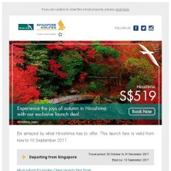 [Singapore Airlines] Experience Hiroshima with our special launch fare from SGD519.