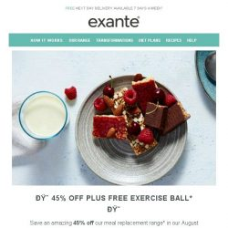 [Exante Diet] 45% off Meals + FREE Exercise Ball