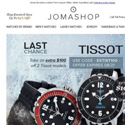 [Jomashop] Final Hours: $100 off Tissot • $69.99 Seiko Men's Watch