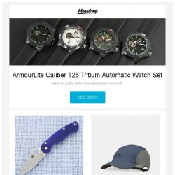 [Massdrop] ArmourLite Caliber T25 Tritium Automatic Watch Set, Spyderco Para Military 2: G-10 / S110V, Outdoor Research Swift Cap and more...
