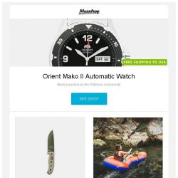 [Massdrop] Orient Mako II Automatic Watch, ESEE 5 Full-Tang Fixed Blade Knife, Klymit LWD Packraft and more...