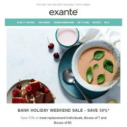 [Exante Diet] Bank Holiday Weekend SALE | 50% off...