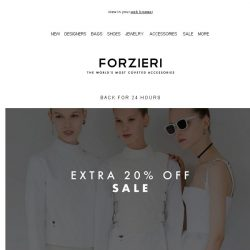 [Forzieri] Extra 20% off Sale is back for a few hours only