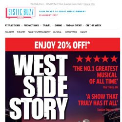 [SISTIC] West Side Story - 20% Off First Week. Limited Shows Only!