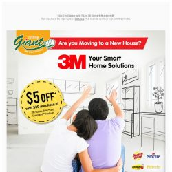 [Giant] Moving 👉🏠 to a New House? Get $5 Off with $30 purchase of 3M Products!