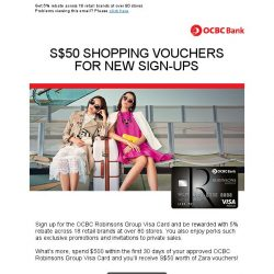 [OCBC]  OCBC Robinsons Group Visa Card – $50 Shopping vouchers for new sign-ups