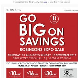 [Robinsons]  Robinsons Expo Sale From 31 Aug to 10 Sept.