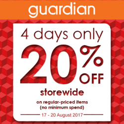 Guardian: 20% OFF Storewide Sale is Back with No Minimum Spend In Stores & Online!