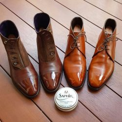 "[Saphir] AY and his thoughts on Saphir's mirror gloss wax polish:""Trying out the Saphir mirror gloss."