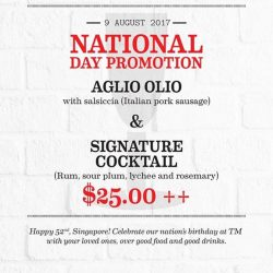 [Table Manners] SPECIAL NATIONAL DAY PROMOIntroducing Aglio Olio with salsiccia and our new signature cocktail infused with rum, sour plum, lychee
